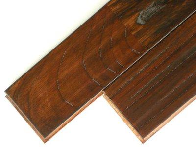 画像1: ケヤキ無垢フローリングUNIアンテーク・ウレタン塗装ダークブラウン色1820×90×15