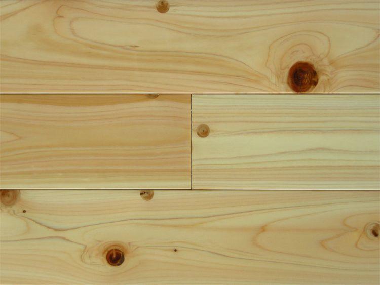 画像1: 桧無垢フローリングNグレード(節有) ウレタン塗装 1820×110×15 (1)