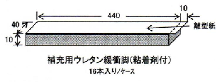 画像1: サイレントトライマット・補充用ウレタン緩衝脚 40×10×440 (1)